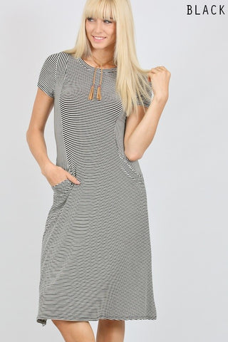 Black Striped Pocket Dress