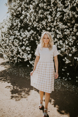The Checkered Dress - Taupe