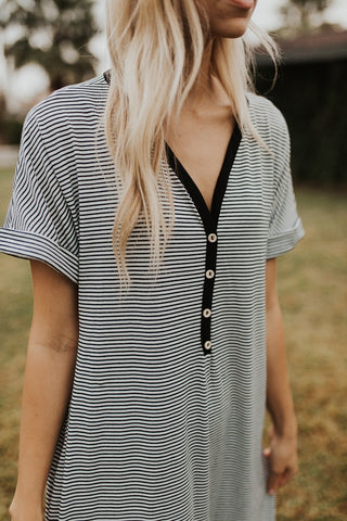 The Harlow Striped Dress - Black