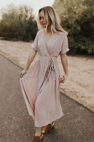 The Emory Wrap Dress - Dusty Mauve