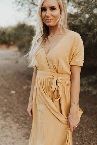 The Emory Wrap Dress - Mustard