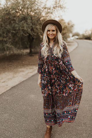 Presley Floral Dress - Navy