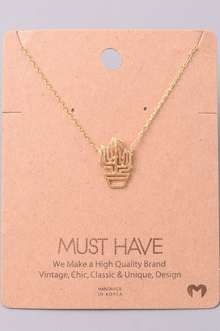 Planted Cactus Necklace - Gold