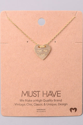 Love Your More Heart Necklace