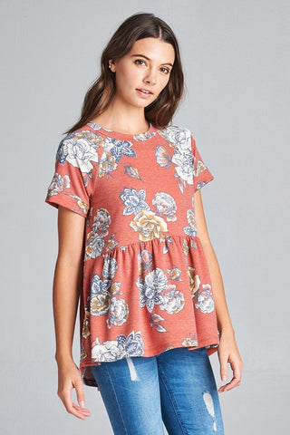 Faded Floral Top - Rust