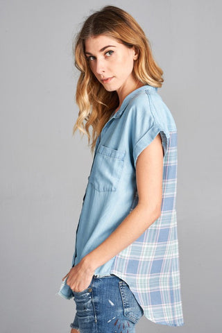Chambray & Flannel Top