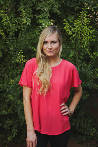 Diamond Cutout Blouse - Coral