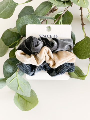 Grey & Cream Scrunchie Set