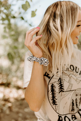 Dot Leopard Scrunchie - White