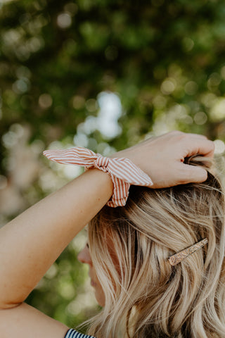 Taupe Stripe Bow Scrunchie