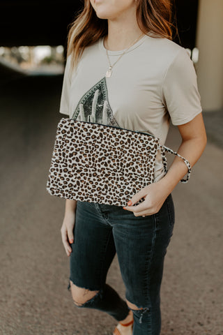 Leopard Clutch - white