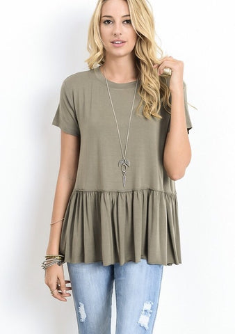 The Peplum Top - olive