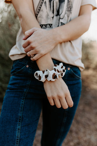 The White Leopard Scrunchie