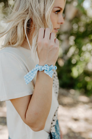 Baby Blue Gingham Scrunchie