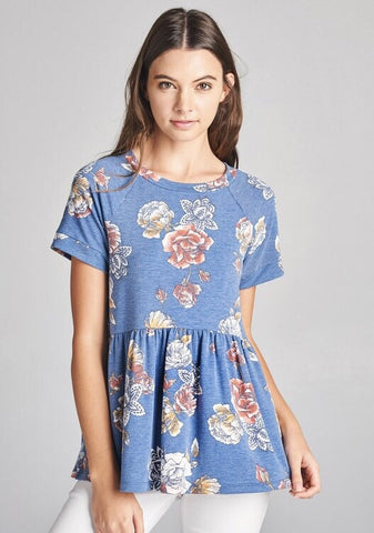 Faded Floral Top - Denim Blue
