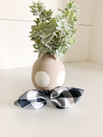 Navy Checkered Bow Scrunchie