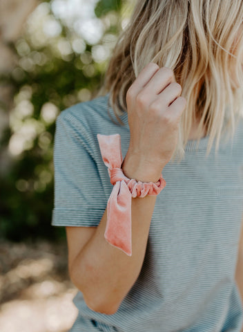 Living Coral Velvet Scrunchie