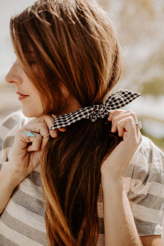 Black Gingham Scrunchie