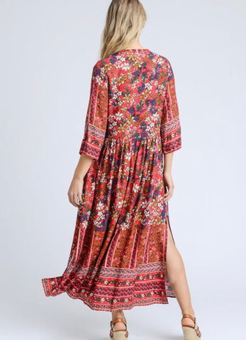Presley Floral Dress - Red