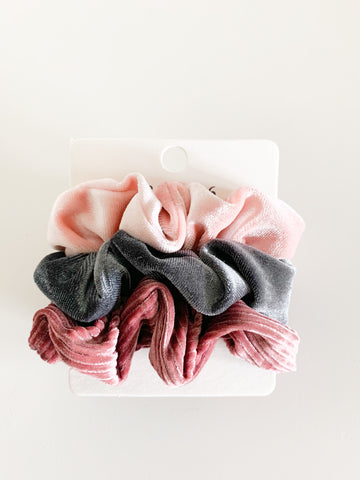Blush, Grey & Mauve Scrunchie Set