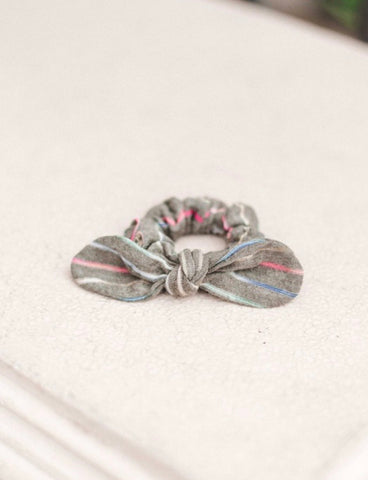 Grey Rainbow Stripe Scrunchie