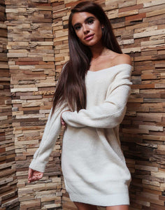 Long V-Neck Sweater Beige