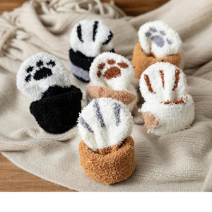 6 variants of paw socks rolled up and displayed