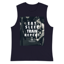 Load image into Gallery viewer, Sink Or Swim Clothing Co. Eat Sleep Train Repeat Muscle Builder Muscle Shirt