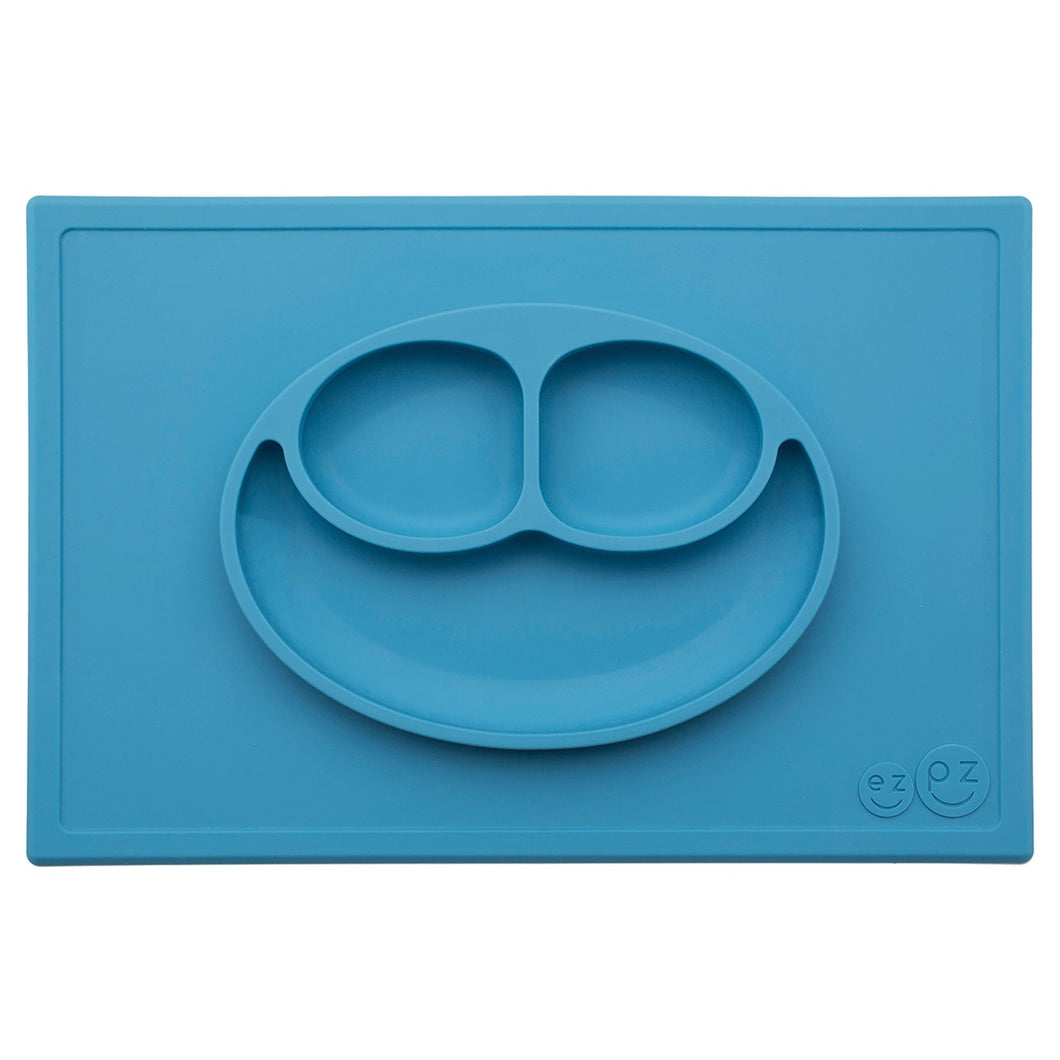 Silicone Happy Mat Blue Placemat and plate in one