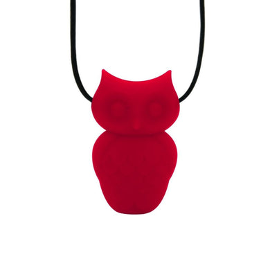 Owl Chewable Silicone Pendant - Red