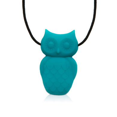 Owl Chewable Silicone Pendant - Turquoise