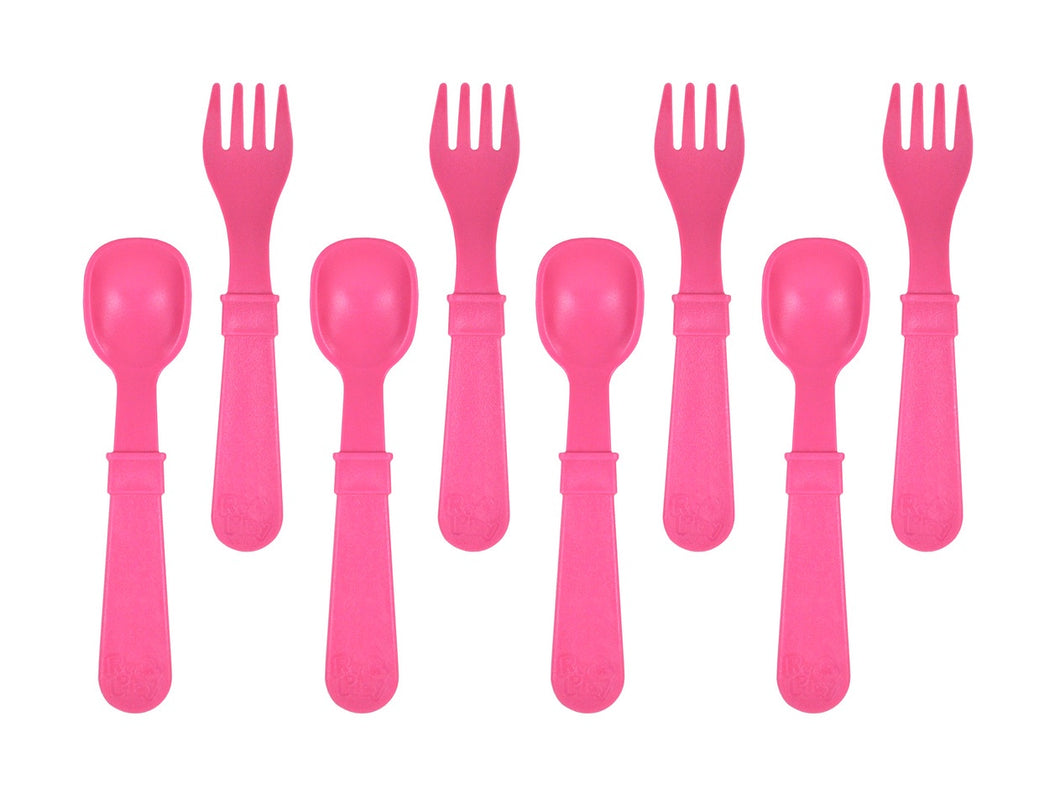 Re-Play Utensils Fork/Spoon Bright Pink 8 Pack