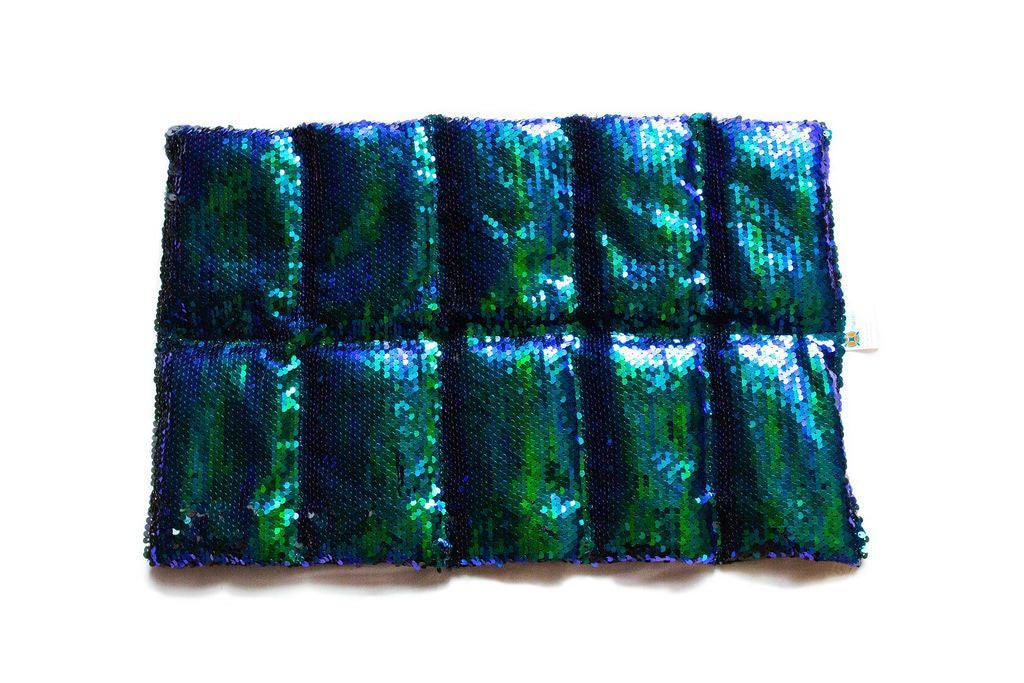 Therapy Weighted Lap Pad Blue/Green Sequin 2kg