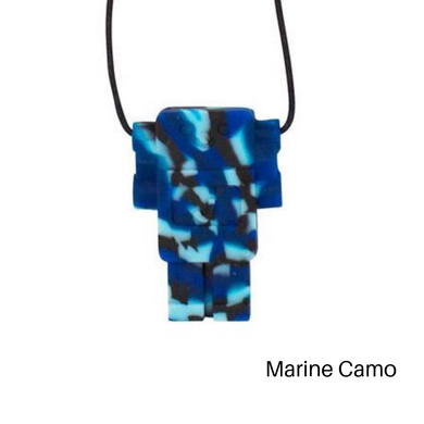 Robot Chewable Silicone Pendant - Blue Camo