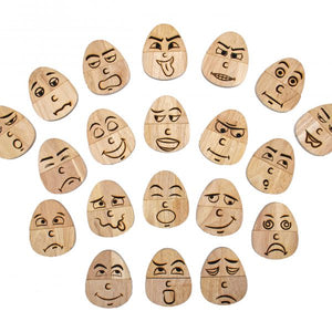 Wooden Eggspression Set of 20 Feelings Faces
