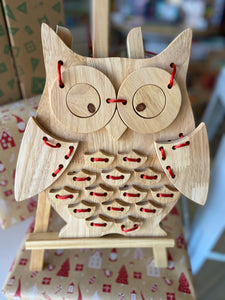 Wooden Lacing Owl: On Sale was $35.95