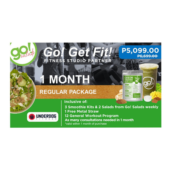 P6,699 worth of 12 general programs with FREE delivery per week of 3 Smoothies, 2 Farm Fresh Salads and 1 Metal Straw - Go! Salads Grocer