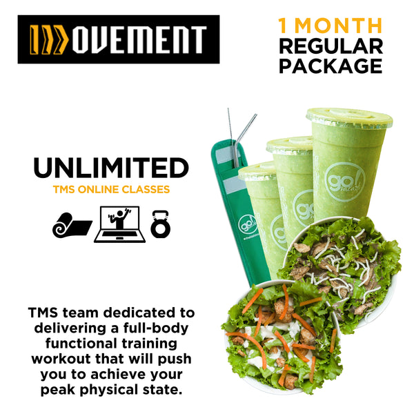 P4,500 worth of Unlimited Regular Classes with FREE delivery per week of 3 Smoothies, 2 Farm Fresh Salads and 1 Metal Straw - Go! Salads Grocer
