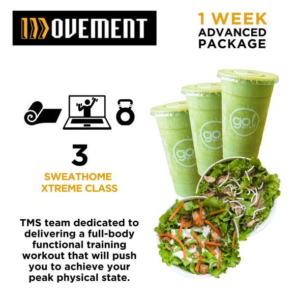 P1,800 worth of 3 Advanced SweatHome XStream Class with FREE delivery of 3 Smoothies and 2 Farm Fresh Salads - Go! Salads Grocer