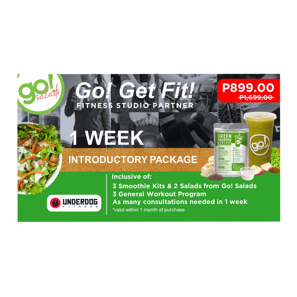 P1,699 worth of 3 general programs with FREE DELIVERY of 3 Smoothies and 2 Farm Fresh Salads of your choice - Go! Salads Grocer