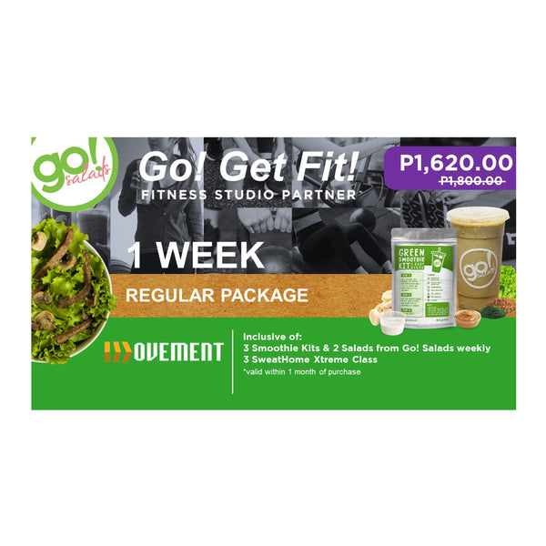 P1,800 worth of 3 Regular SweatHome XStream Class with FREE delivery of 3 Smoothies and 2 Farm Fresh Salads - Go! Salads Grocer