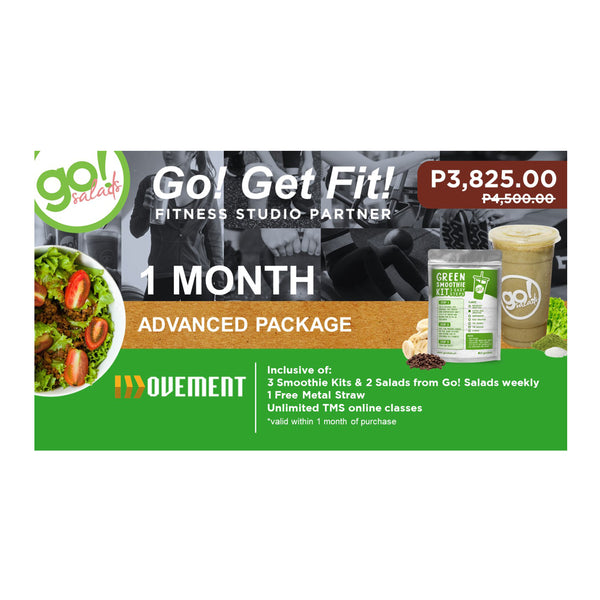 P4,500 worth of Unlimited Advanced Classes with FREE delivery per week of 3 Smoothies, 2 Farm Fresh Salads and 1 Metal Straw - Go! Salads Grocer