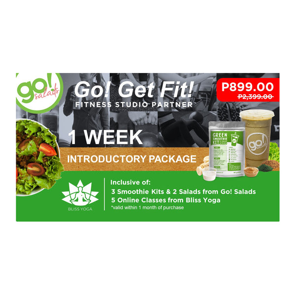 P2,399 worth of 1 week online classes with FREE DELIVERY of 3 Smoothies and 2 Farm Fresh Salads of your choice - Go! Salads Grocer