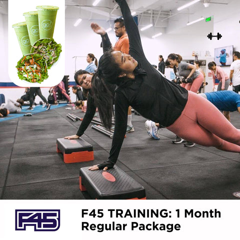 P8,499 worth of Unlimited access to F45 online classes and 10 classes (in-studio) with FREE DELIVERY of 3 Smoothies, 2 Farm Fresh Salads of your choice and 1 Metal Straw - Go! Salads Grocer