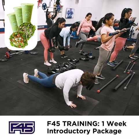 P1,899 worth of Unlimited access to F45 online classes with FREE DELIVERY of 3 Smoothies and 2 Farm Fresh Salads of your choice - Go! Salads Grocer