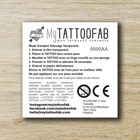 TEMPORARY TATTOO 5x5cm TEST PACK