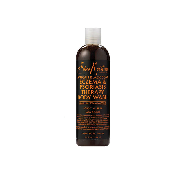 Shea Moisture African Black Soap Eczema & Psoriasis Therapy Body Wash 12 oz