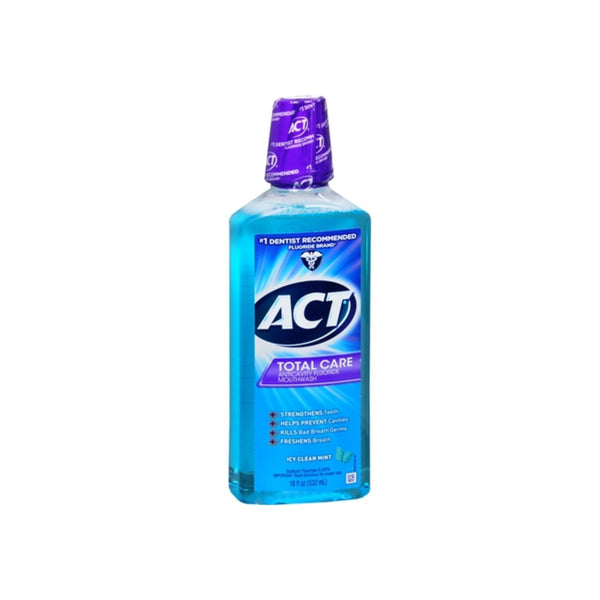 ACT Total Care Anticavity Fluoride Mouthwash Icy Clean Mint 18 oz