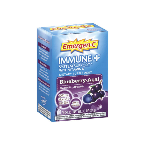 Emergen-C Immune+ System Support Fizzy Drink Mix, Blueberry-Acai Flavored 10 ea