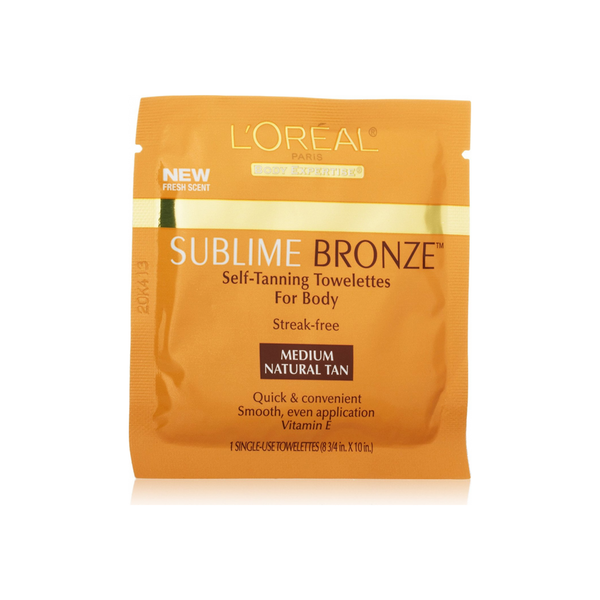 L'Oreal SUBLIME BRONZE Self-Tanning Towelettes For Body, Medium Natural Tan 6 Each